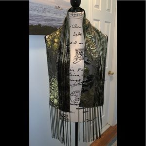 VINTAGE CRUSHED OLIVE & GRAY SCARF WITH TASSELS